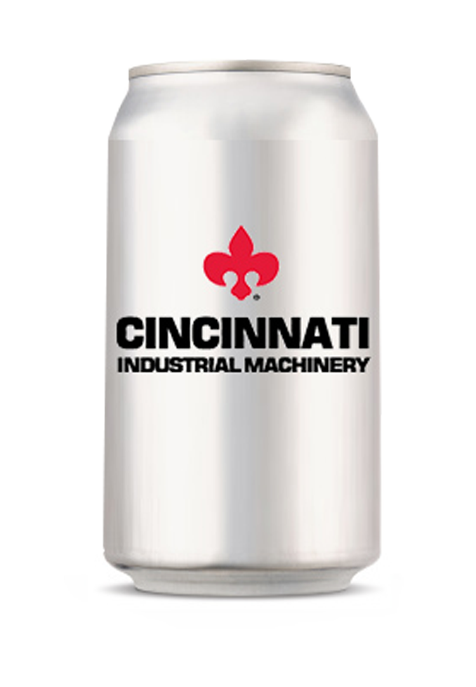 Cincinnati Industrial Machinery Logo on Silver Aluminum Can Transparent Background Industrial Oven