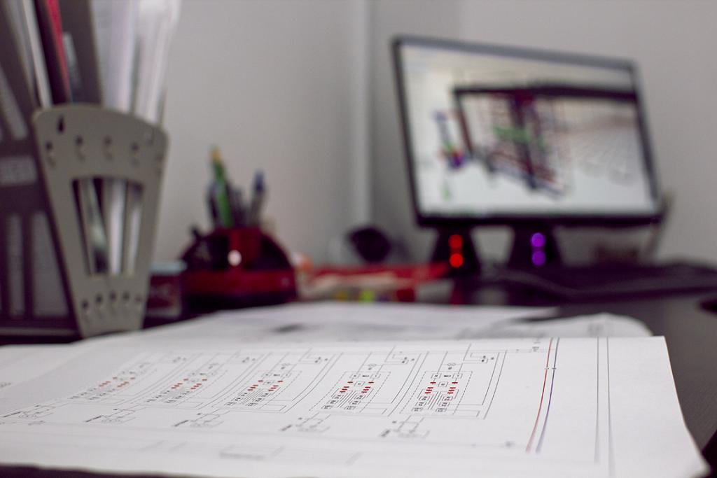 Cincinnati Industrial Machinery Engineering Plans Drawings on Desk